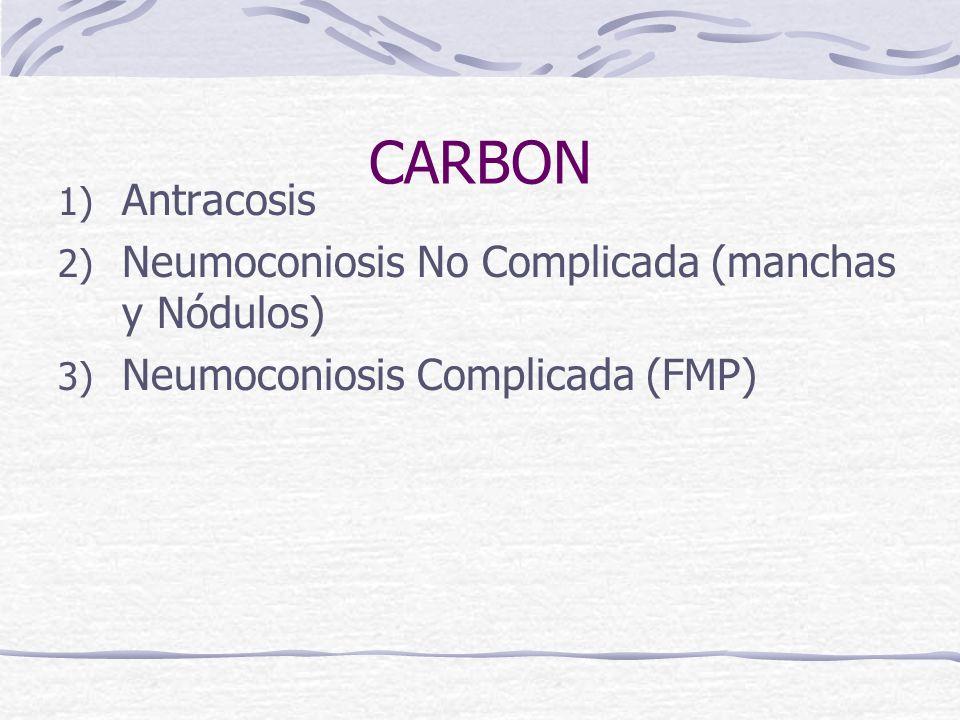 CARBON 1) Antracosis 2) Neumoconiosis No Complicada (manchas y Nódulos) 3) Neumoconiosis Complicada (FMP)