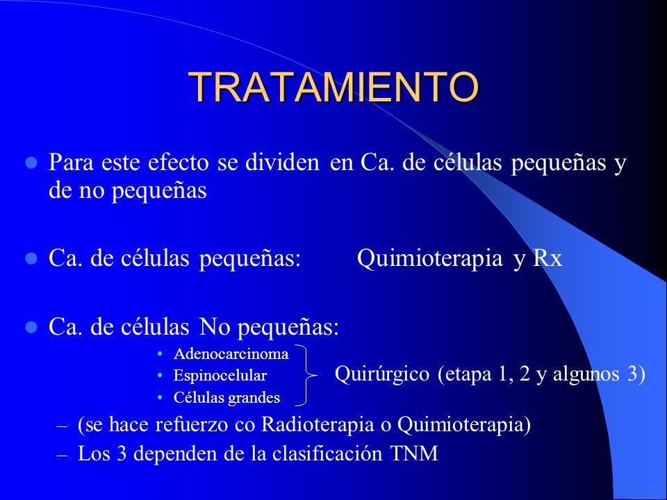 PRONOSTICO Tumor en estadio I + cirugía (sobrevida a 5 años) – 35% Ca Epidermoide – 30% Adenocarcinoma / Ca Células Grandes Ca de Células Pequeñas loc