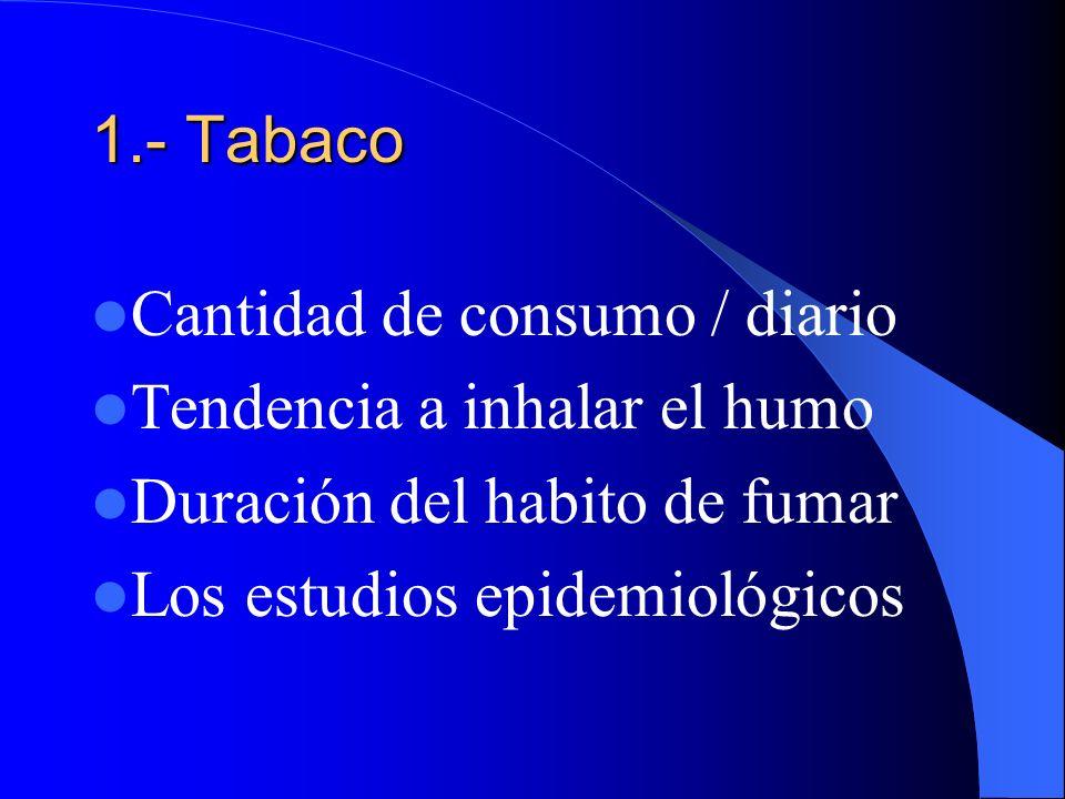 Etiología y Patogénia: 1.- Tabaco: 2.- Riesgos Industriales 3.- Influencia de la contaminación admosférica