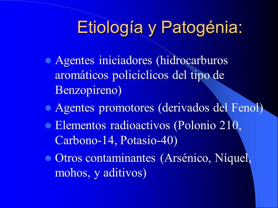 Etiología y Patogénia El Humo del cigarrillo contiene más de 1.200 substancias tóxicas como:
