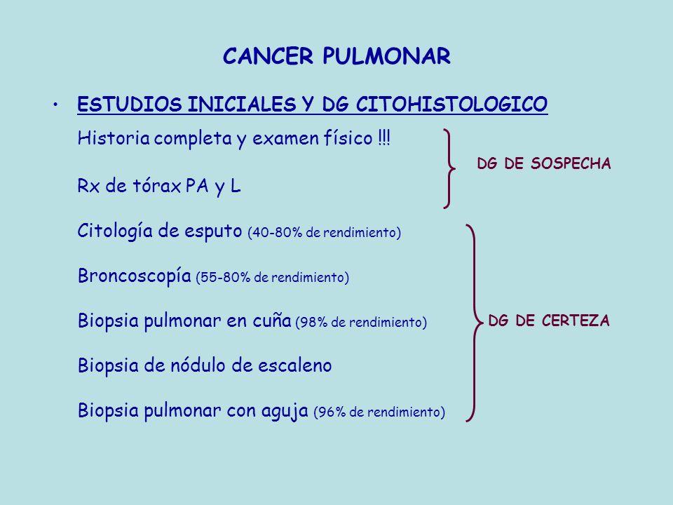 CANCER PULMONAR ESTUDIOS INICIALES Y DG CITOHISTOLOGICO Historia completa y examen físico !!! Rx de tórax PA y L Citología de esputo (40-80% de rendim