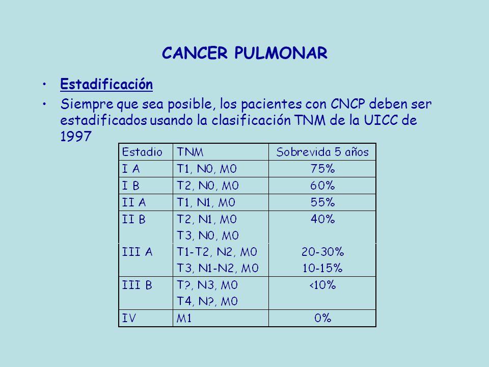 CANCER PULMONAR Estadificación Siempre que sea posible, los pacientes con CNCP deben ser estadificados usando la clasificación TNM de la UICC de 1997