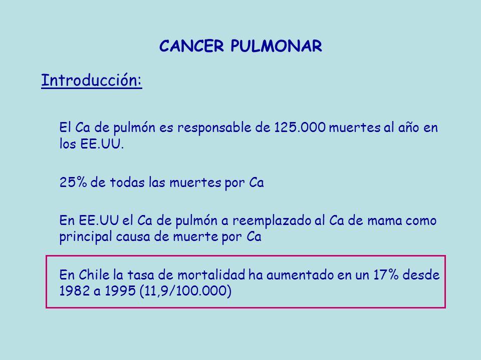 CANCER PULMONAR Introducción: El Ca de pulmón es responsable de 125.000 muertes al año en los EE.UU. 25% de todas las muertes por Ca En EE.UU el Ca de