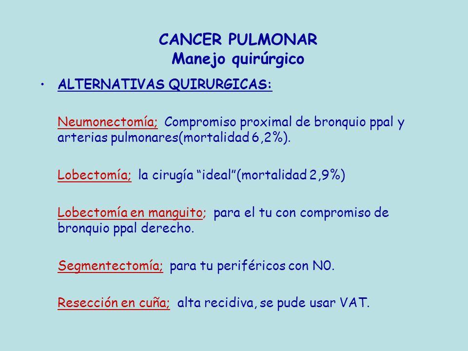 CANCER PULMONAR Manejo quirúrgico ALTERNATIVAS QUIRURGICAS: Neumonectomía; Compromiso proximal de bronquio ppal y arterias pulmonares(mortalidad 6,2%)