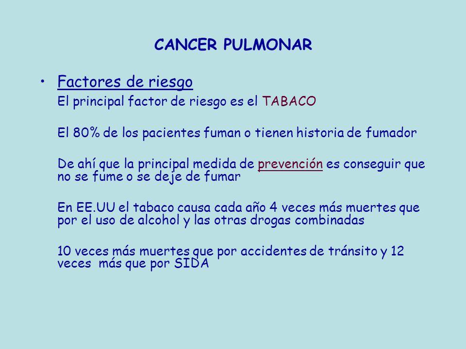 CANCER PULMONAR Factores de riesgo El principal factor de riesgo es el TABACO El 80% de los pacientes fuman o tienen historia de fumador De ahí que la