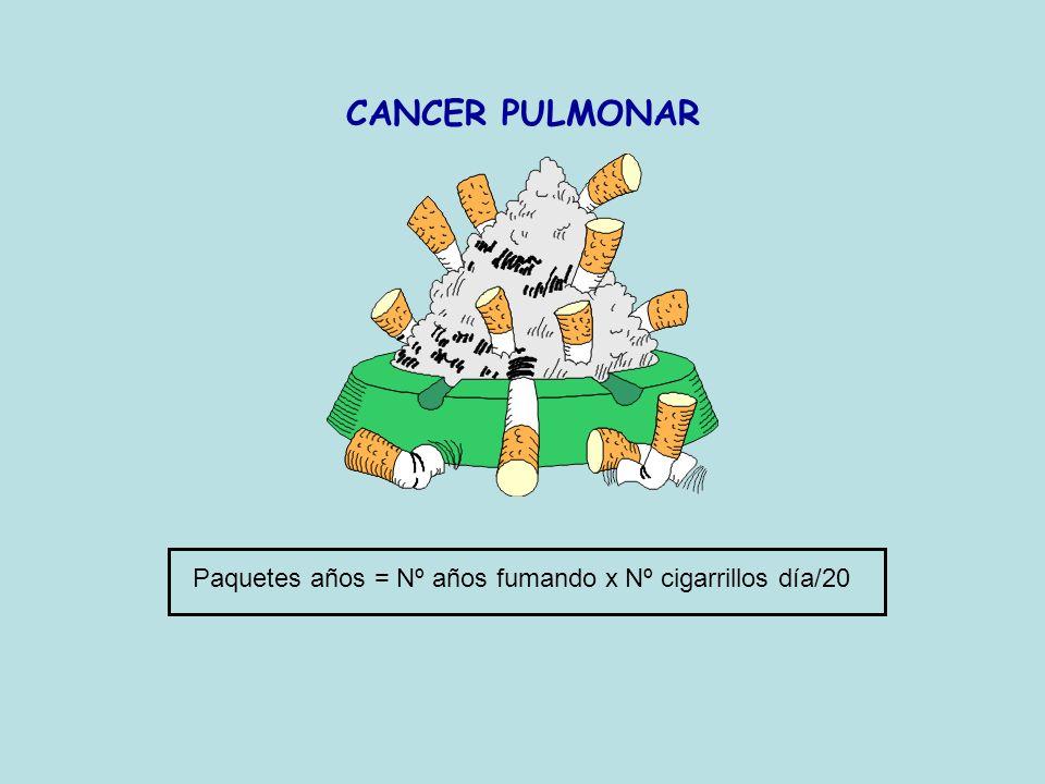 CANCER PULMONAR Paquetes años = Nº años fumando x Nº cigarrillos día/20