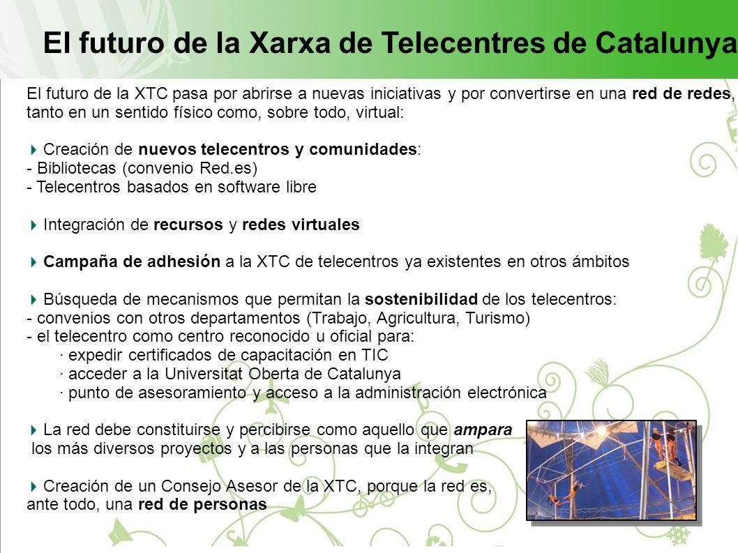 El futuro de la Xarxa de Telecentres de Catalunya El futuro de la XTC pasa por abrirse a nuevas iniciativas y por convertirse en una red de redes, tanto en un sentido físico como, sobre todo, virtual: Creación de nuevos telecentros y comunidades: - Bibliotecas (convenio Red.es) - Telecentros basados en software libre Integración de recursos y redes virtuales Campaña de adhesión a la XTC de telecentros ya existentes en otros ámbitos Búsqueda de mecanismos que permitan la sostenibilidad de los telecentros: - convenios con otros departamentos (Trabajo, Agricultura, Turismo) - el telecentro como centro reconocido u oficial para: · expedir certificados de capacitación en TIC · acceder a la Universitat Oberta de Catalunya · punto de asesoramiento y acceso a la administración electrónica La red debe constituirse y percibirse como aquello que ampara los más diversos proyectos y a las personas que la integran Creación de un Consejo Asesor de la XTC, porque la red es, ante todo, una red de personas