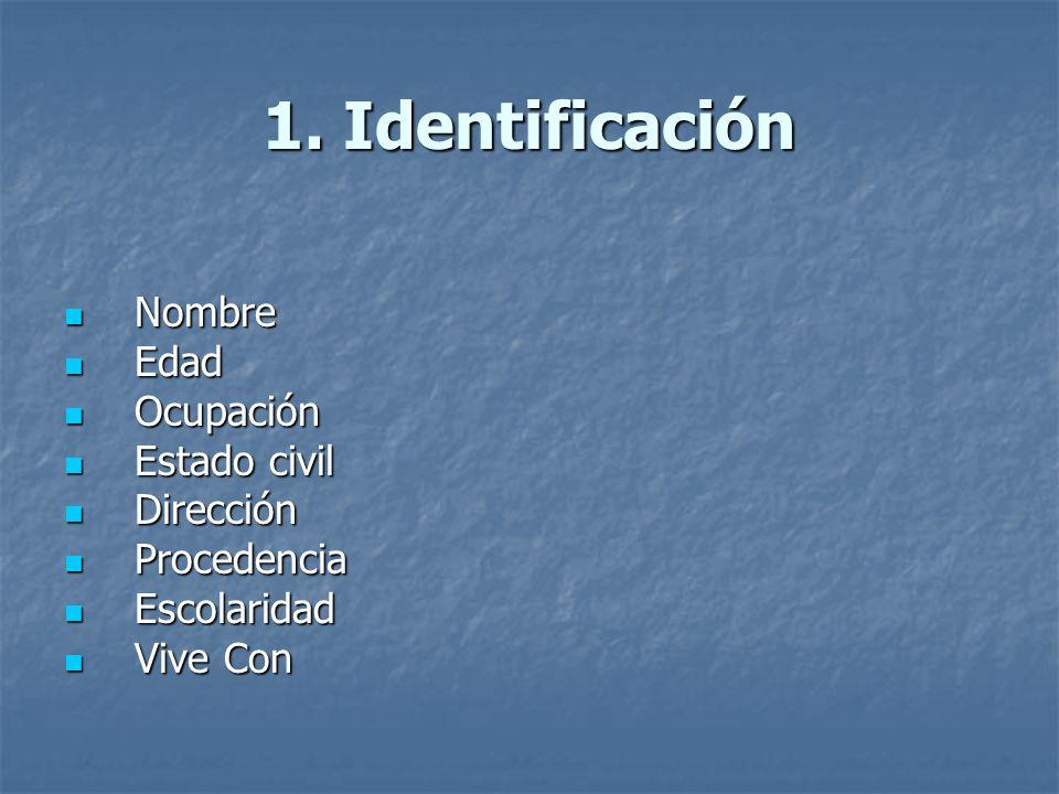 1. Identificación Nombre Nombre Edad Edad Ocupación Ocupación Estado civil Estado civil Dirección Dirección Procedencia Procedencia Escolaridad Escola