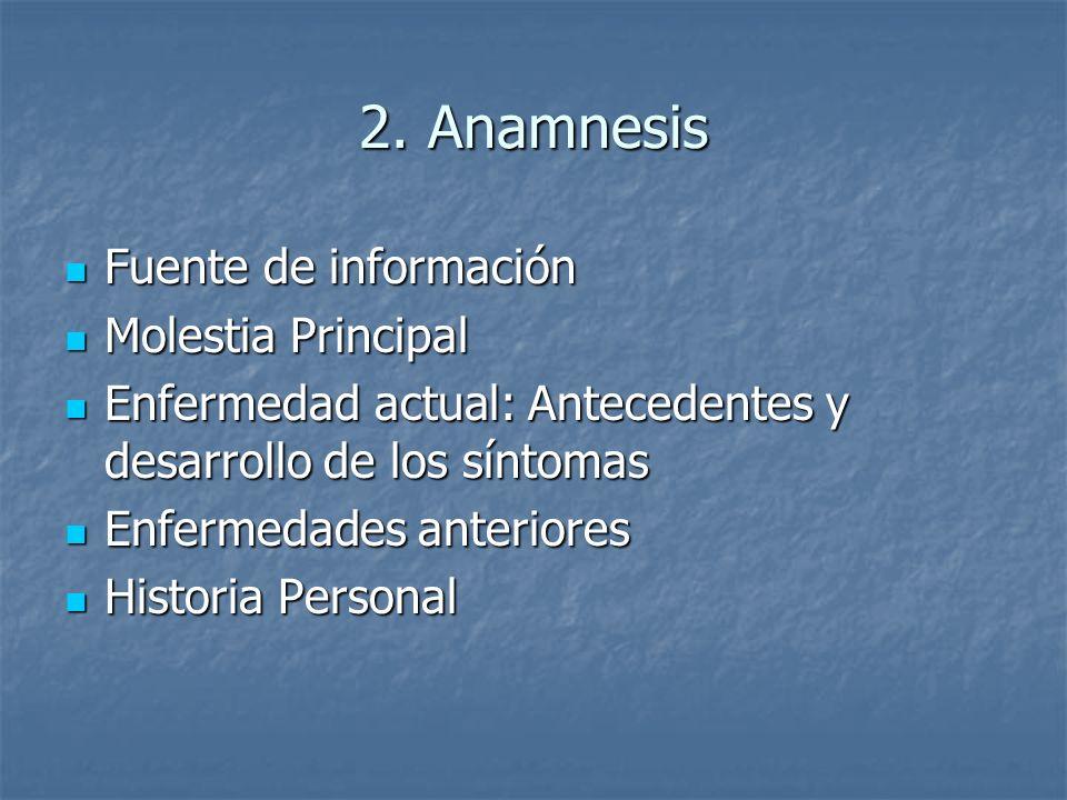 2. Anamnesis Fuente de información Fuente de información Molestia Principal Molestia Principal Enfermedad actual: Antecedentes y desarrollo de los sín