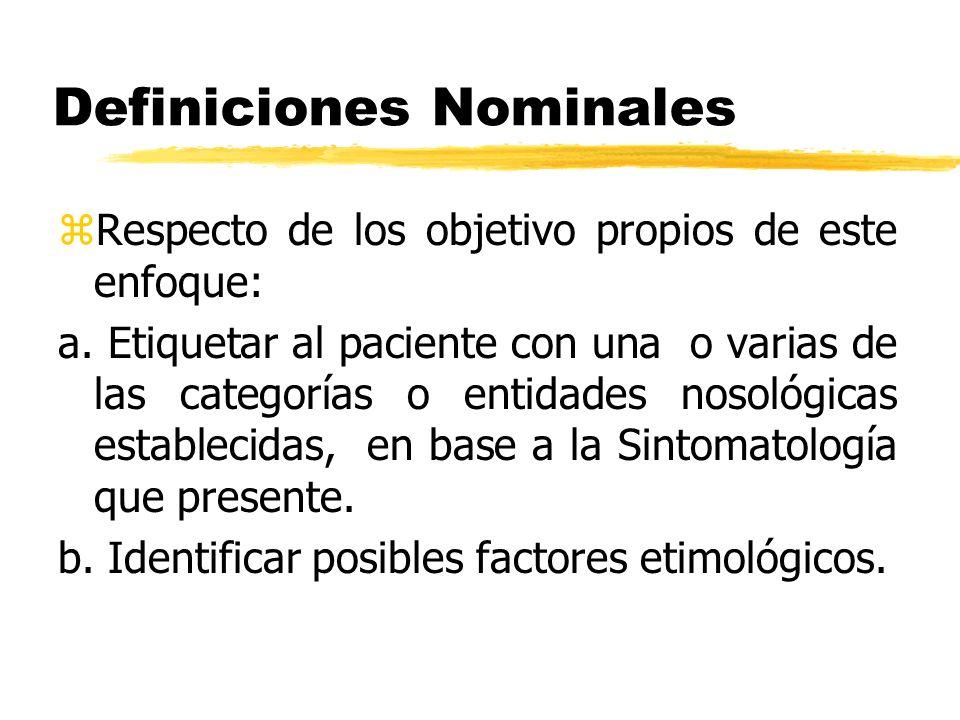 Definiciones Nominales zRespecto de los objetivo propios de este enfoque: a. Etiquetar al paciente con una o varias de las categorías o entidades noso