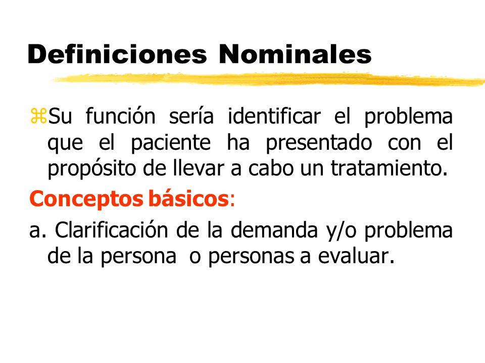 Definiciones Nominales zSu función sería identificar el problema que el paciente ha presentado con el propósito de llevar a cabo un tratamiento. Conce