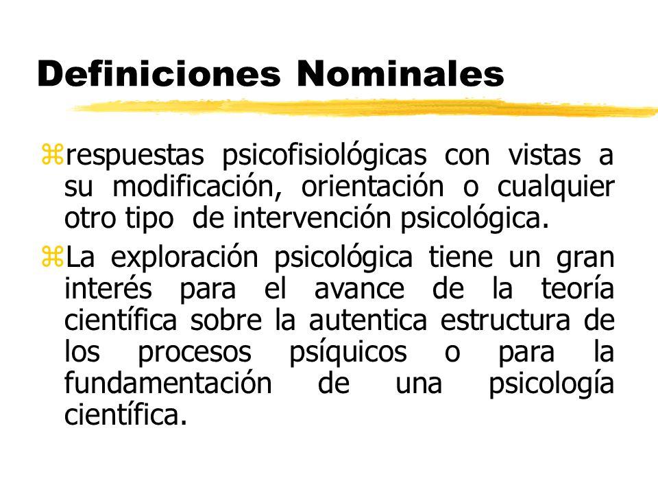 Definiciones Nominales zrespuestas psicofisiológicas con vistas a su modificación, orientación o cualquier otro tipo de intervención psicológica. zLa