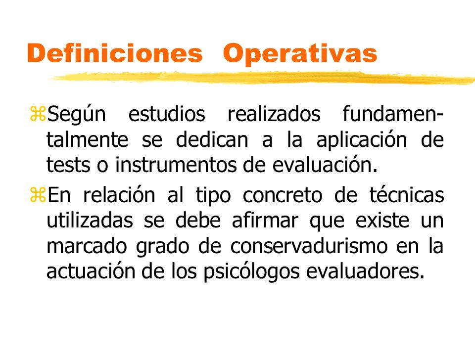 Definiciones Operativas zSegún estudios realizados fundamen- talmente se dedican a la aplicación de tests o instrumentos de evaluación. zEn relación a