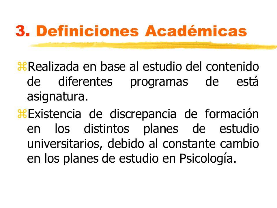 3. Definiciones Académicas zRealizada en base al estudio del contenido de diferentes programas de está asignatura. zExistencia de discrepancia de form