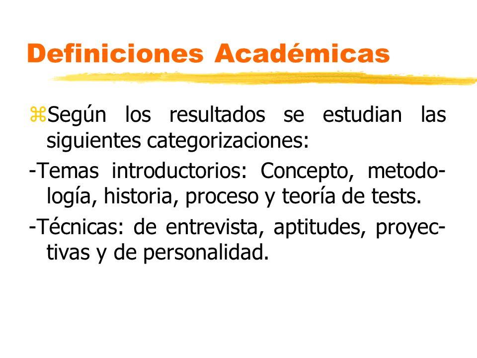 Definiciones Académicas zSegún los resultados se estudian las siguientes categorizaciones: -Temas introductorios: Concepto, metodo- logía, historia, p