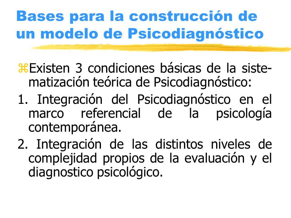 Bases para la construcción de un modelo de Psicodiagnóstico zExisten 3 condiciones básicas de la siste- matización teórica de Psicodiagnóstico: 1. Int