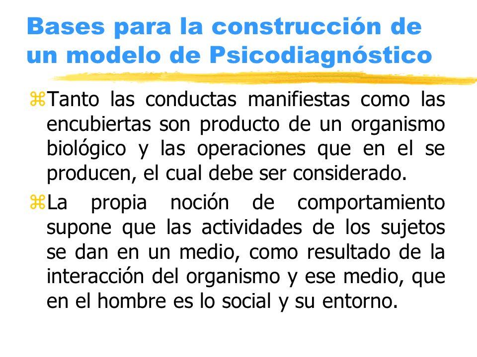 Bases para la construcción de un modelo de Psicodiagnóstico zTanto las conductas manifiestas como las encubiertas son producto de un organismo biológi