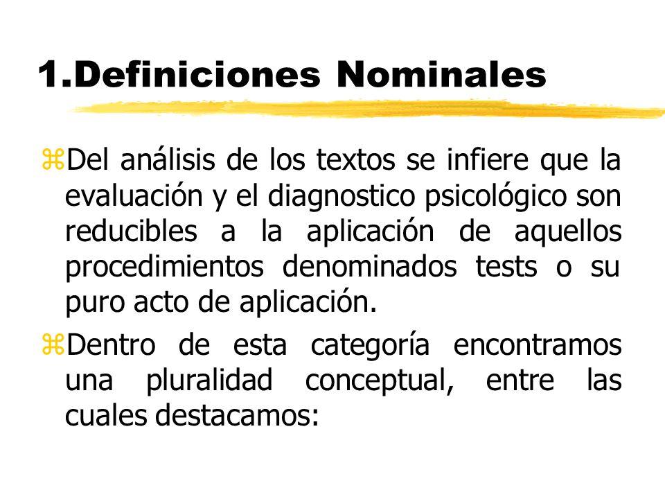 Definiciones Nominales z1a.-Definiciones Instrumentales: zEl Psicodiagnóstico aparece reducido a la aplicación de los tests, pero haciendo referencia a un objeto concreto: el de la clasificación de un individuo con respecto a una serie de características o atributos psicológicos o psicopatológicos.