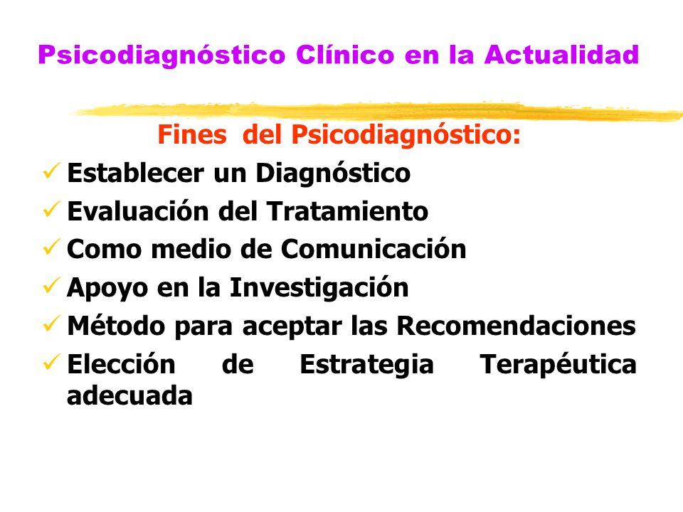 Psicodiagnóstico Clínico en la Actualidad Fines del Psicodiagnóstico: Establecer un Diagnóstico Evaluación del Tratamiento Como medio de Comunicación