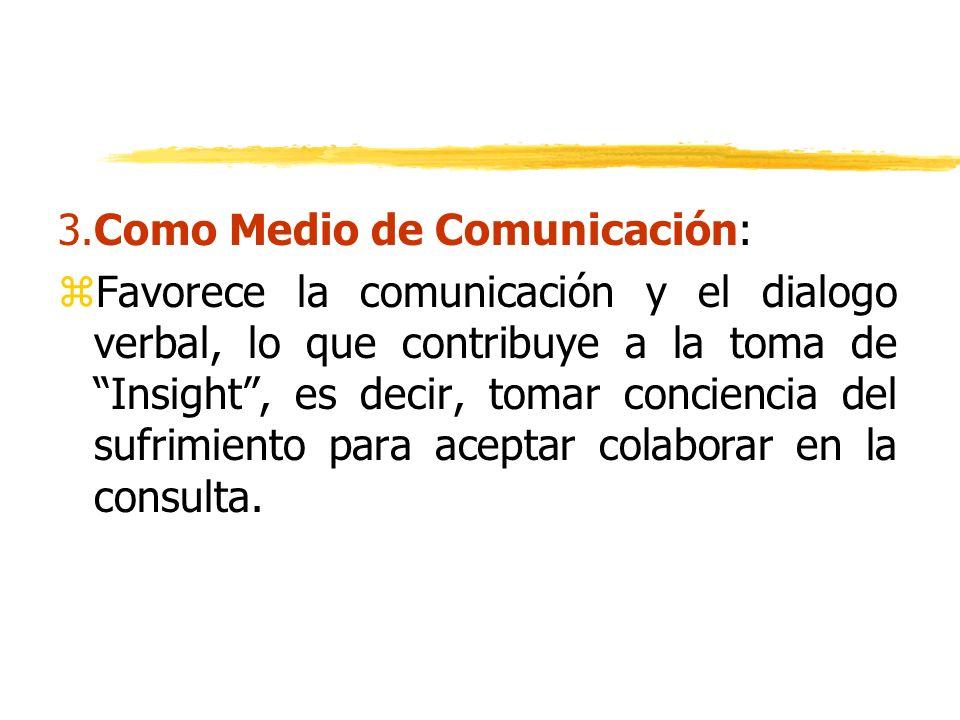 3.Como Medio de Comunicación: zFavorece la comunicación y el dialogo verbal, lo que contribuye a la toma de Insight, es decir, tomar conciencia del su
