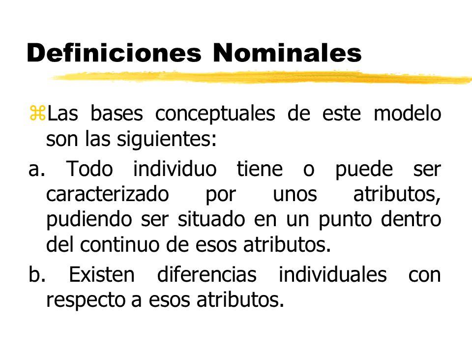 Definiciones Nominales zLas bases conceptuales de este modelo son las siguientes: a. Todo individuo tiene o puede ser caracterizado por unos atributos