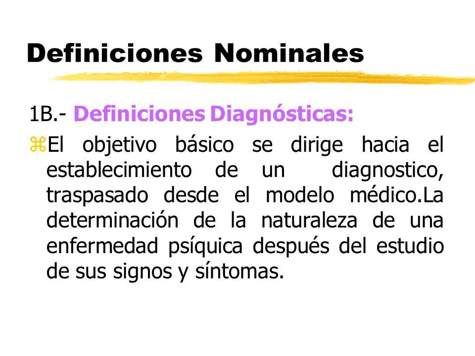 Definiciones Nominales 1B.- Definiciones Diagnósticas: zEl objetivo básico se dirige hacia el establecimiento de un diagnostico, traspasado desde el m