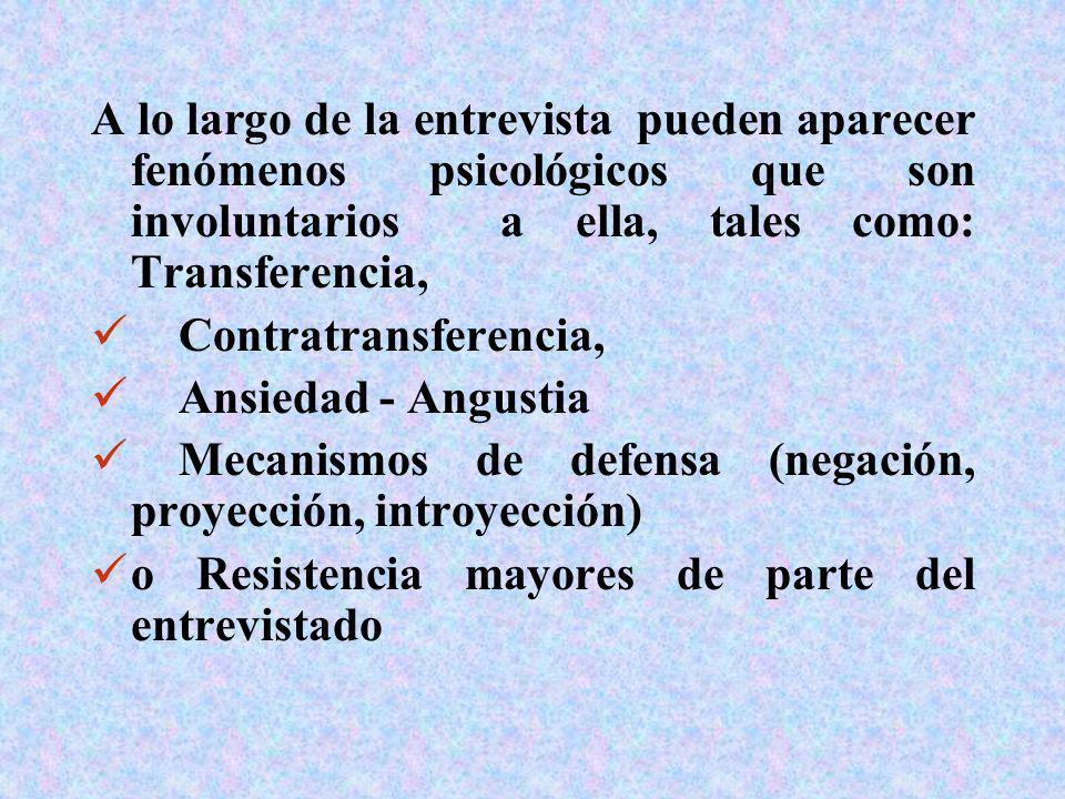 A lo largo de la entrevista pueden aparecer fenómenos psicológicos que son involuntarios a ella, tales como: Transferencia, Contratransferencia, Ansie