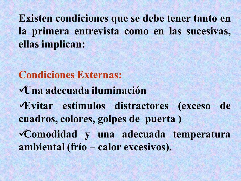 Existen condiciones que se debe tener tanto en la primera entrevista como en las sucesivas, ellas implican: Condiciones Externas: Una adecuada ilumina