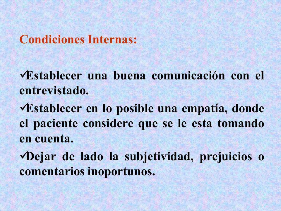 Condiciones Internas: Establecer una buena comunicación con el entrevistado. Establecer en lo posible una empatía, donde el paciente considere que se