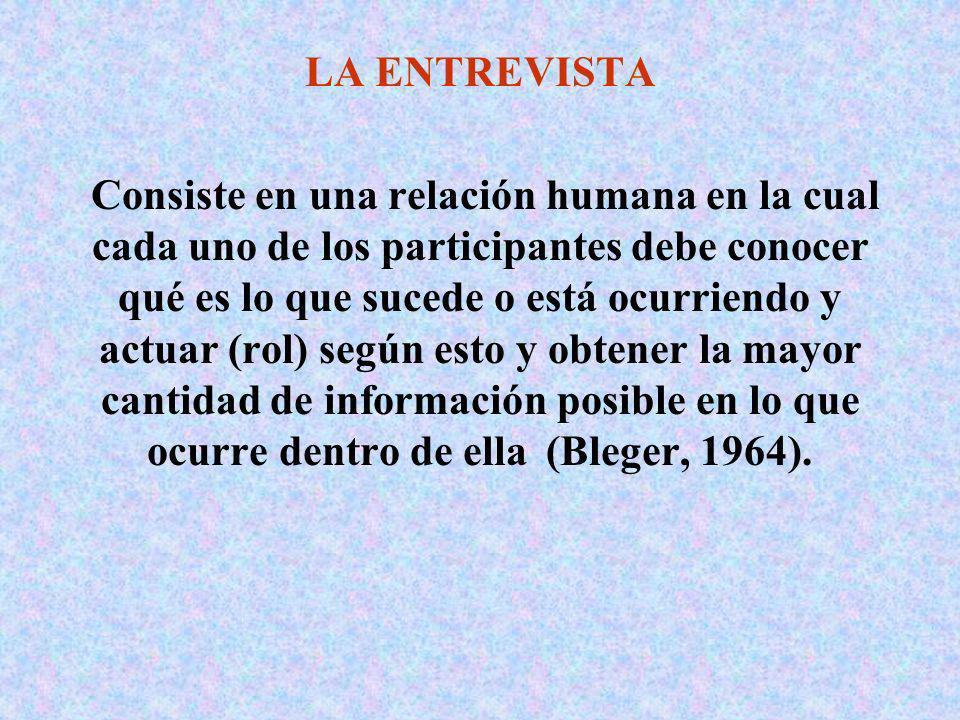 LA ENTREVISTA Consiste en una relación humana en la cual cada uno de los participantes debe conocer qué es lo que sucede o está ocurriendo y actuar (r