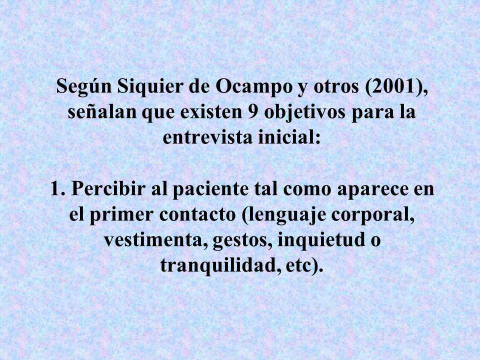 Según Siquier de Ocampo y otros (2001), señalan que existen 9 objetivos para la entrevista inicial: 1. Percibir al paciente tal como aparece en el pri