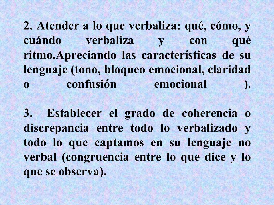 2. Atender a lo que verbaliza: qué, cómo, y cuándo verbaliza y con qué ritmo.Apreciando las características de su lenguaje (tono, bloqueo emocional, c