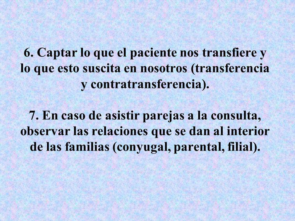 6. Captar lo que el paciente nos transfiere y lo que esto suscita en nosotros (transferencia y contratransferencia). 7. En caso de asistir parejas a l