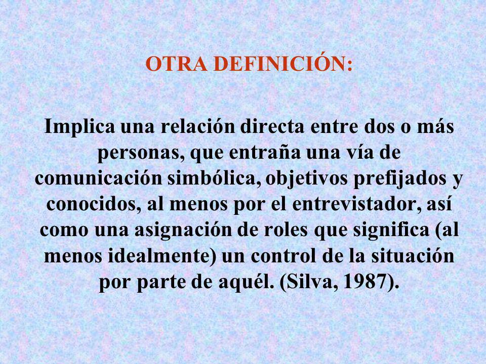 OTRA DEFINICIÓN: Implica una relación directa entre dos o más personas, que entraña una vía de comunicación simbólica, objetivos prefijados y conocido