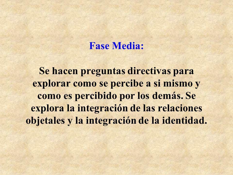 Fase Media: Se hacen preguntas directivas para explorar como se percibe a si mismo y como es percibido por los demás. Se explora la integración de las