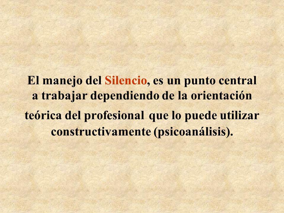 El manejo del Silencio, es un punto central a trabajar dependiendo de la orientación teórica del profesional que lo puede utilizar constructivamente (