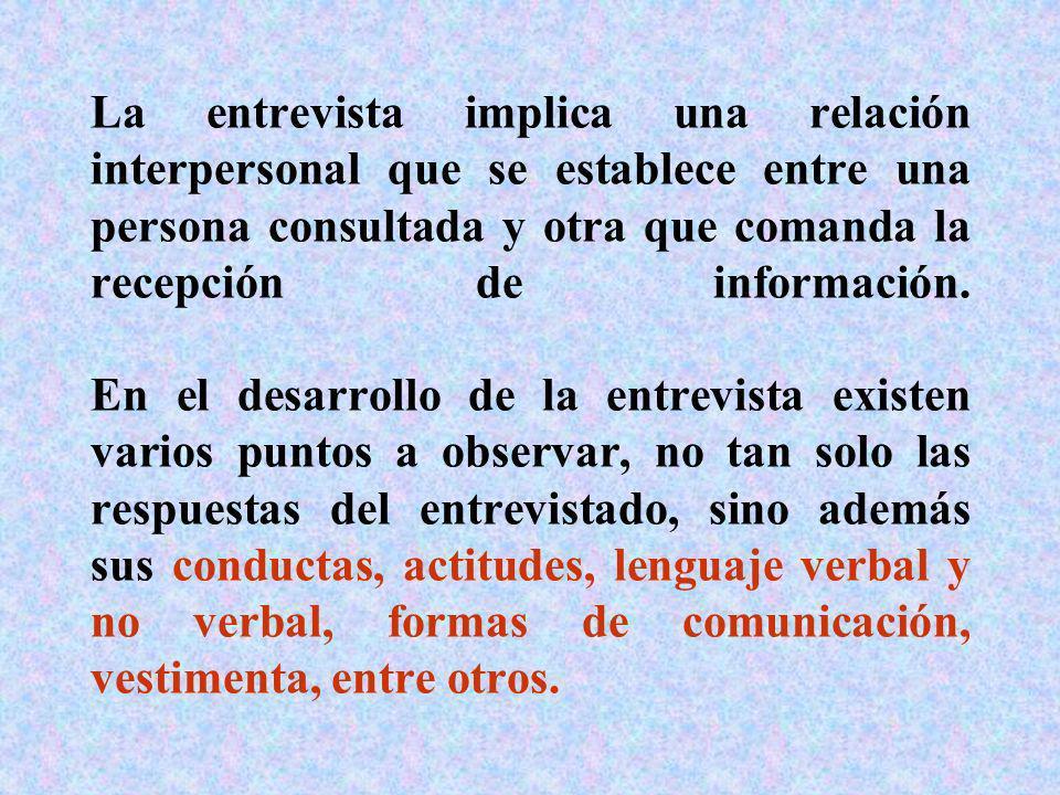 La entrevista implica una relación interpersonal que se establece entre una persona consultada y otra que comanda la recepción de información. En el d