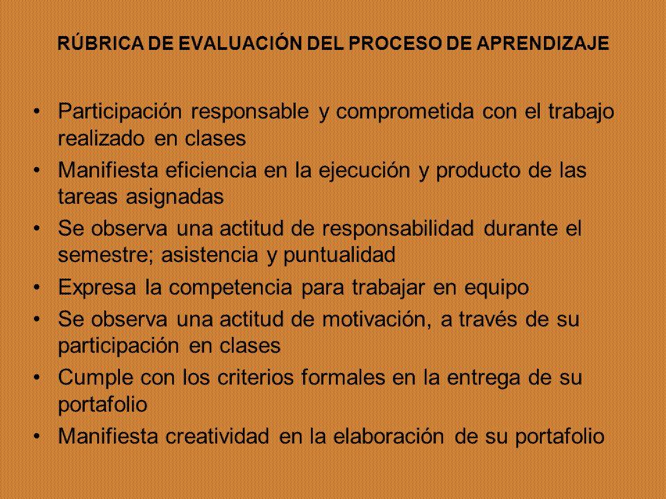 RÚBRICA DE EVALUACIÓN DEL PROCESO DE APRENDIZAJE Participación responsable y comprometida con el trabajo realizado en clases Manifiesta eficiencia en