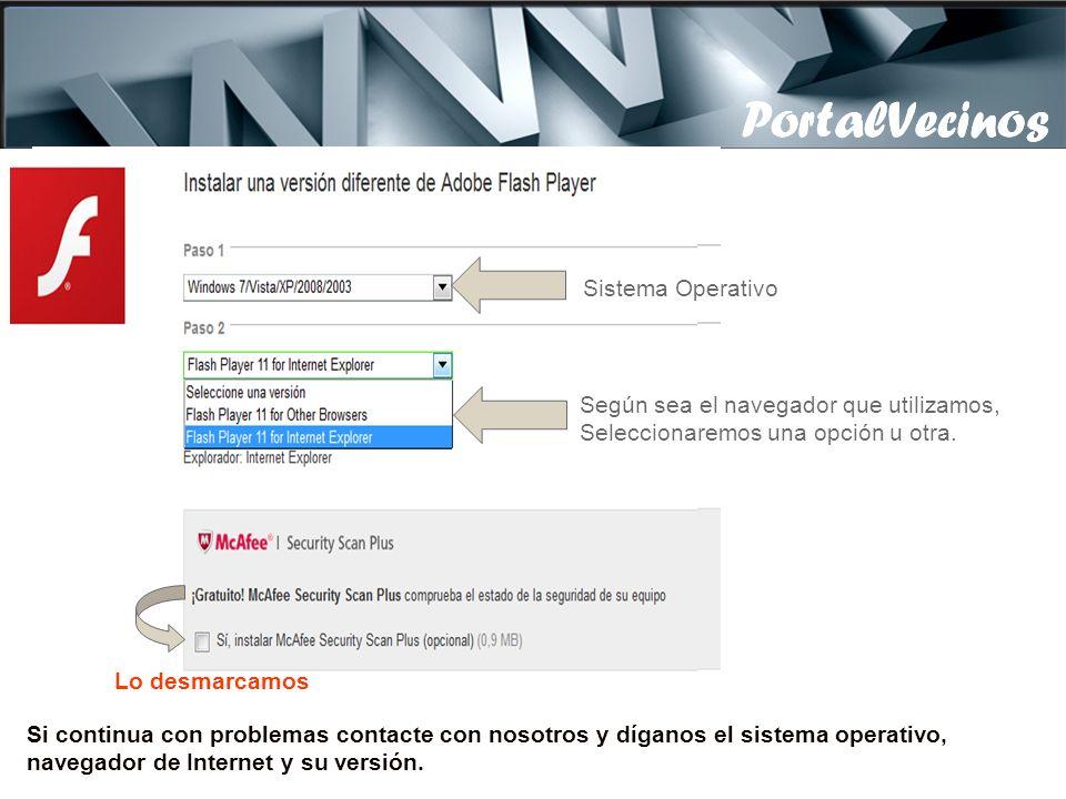 PortalVecinos Si no funciona el programa de subir ficheros, o no vemos el botón de Ficheros, vamos a la siguiente dirección: (Descargamos el programa y lo instalamos) http://get.adobe.com/es/flashplayer/otherversions/ Seleccionamos nuestro Sistema operativo PortalVecinos