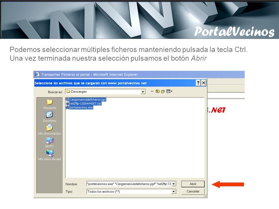 Nos aparece la siguiente pantalla donde pinchamos Ficheros, abriéndose la imagen que veremos en la siguiente diapositiva, donde seleccionaremos los ficheros a transportar PortalVecinos Atención, en caso de no verse este botón, contacte con nosotros.