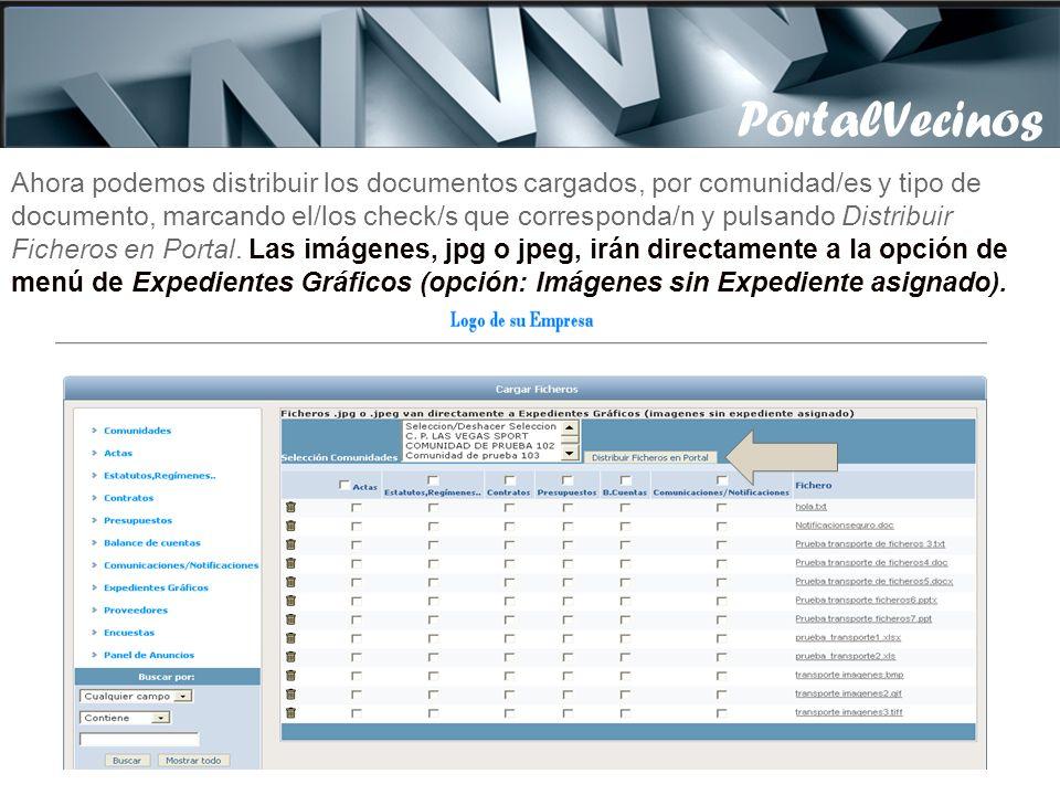 Ahora podemos distribuir los documentos cargados, por comunidad/es y tipo de documento, marcando el/los check/s que corresponda/n y pulsando Distribuir Ficheros en Portal.