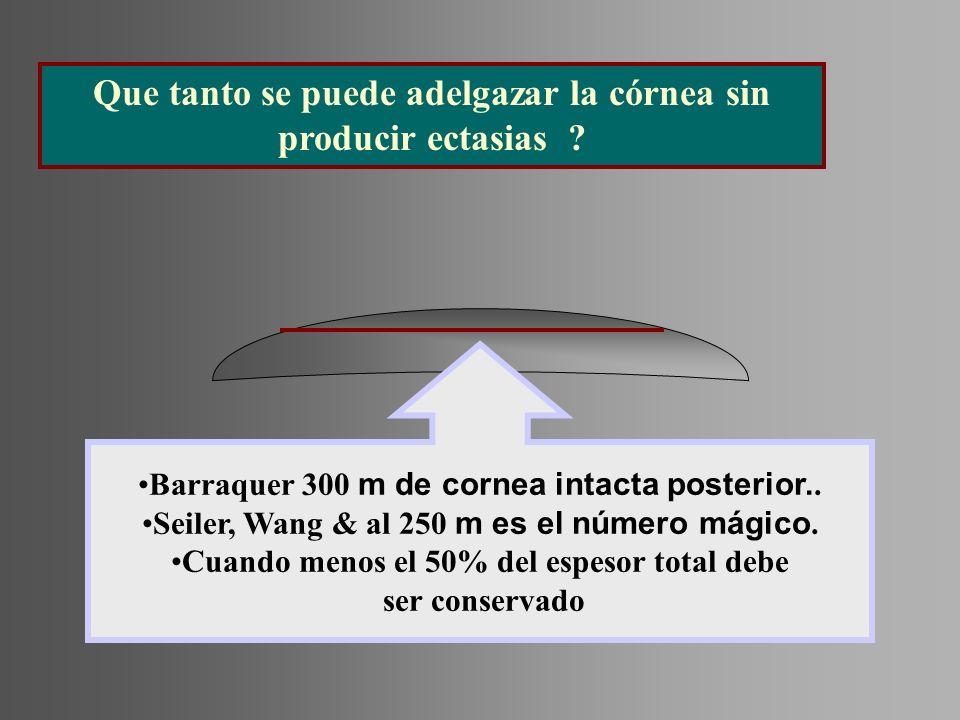 Barraquer 300 m de cornea intacta posterior.. Seiler, Wang & al 250 m es el número mágico. Cuando menos el 50% del espesor total debe ser conservado Q