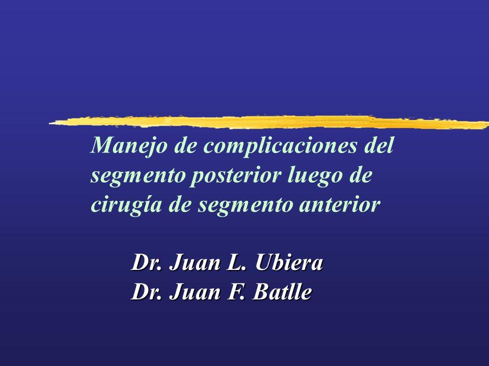 Manejo de complicaciones del segmento posterior luego de cirugía de segmento anterior Dr. Juan L. Ubiera Dr. Juan F. Batlle