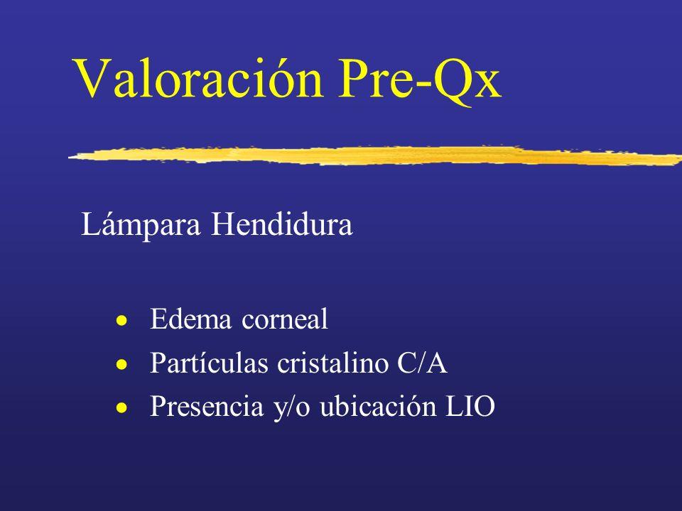Valoración Pre-Qx Lámpara Hendidura Edema corneal Partículas cristalino C/A Presencia y/o ubicación LIO