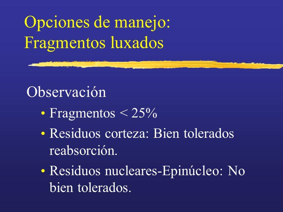 Opciones de manejo: Fragmentos luxados Observación Fragmentos < 25% Residuos corteza: Bien tolerados reabsorción. Residuos nucleares-Epinúcleo: No bie