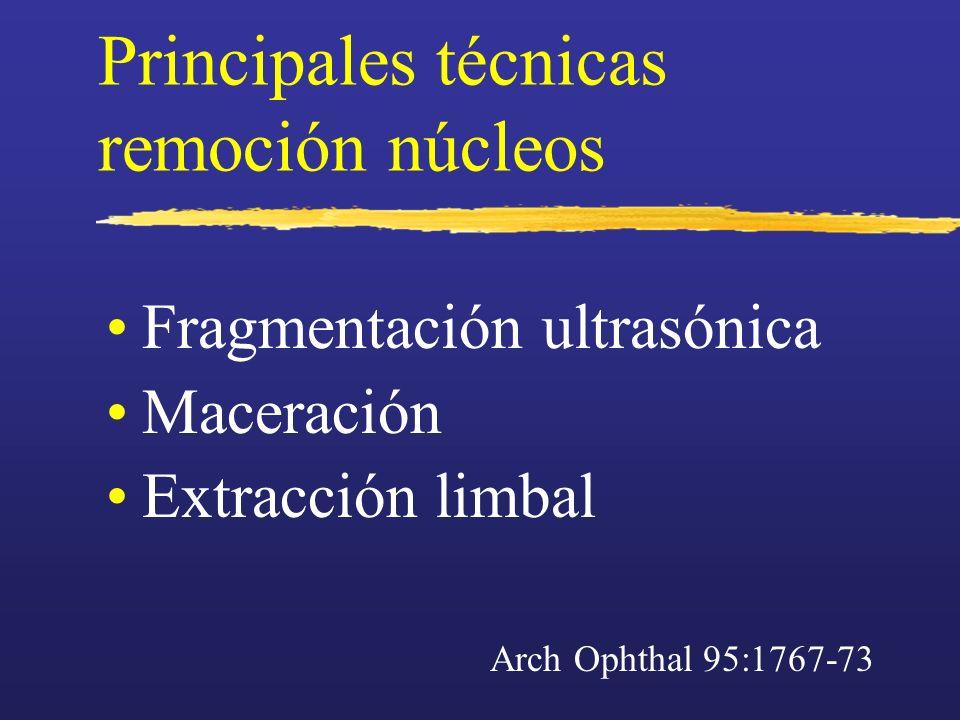 Principales técnicas remoción núcleos Fragmentación ultrasónica Maceración Extracción limbal Arch Ophthal 95:1767-73