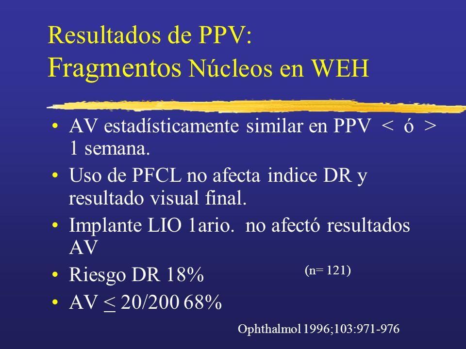 Resultados de PPV: Fragmentos Núcleos en WEH (n= 121) AV estadísticamente similar en PPV 1 semana. Uso de PFCL no afecta indice DR y resultado visual