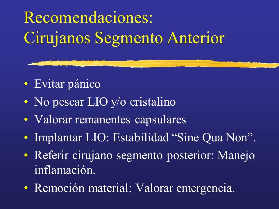Recomendaciones: Cirujanos Segmento Anterior Evitar pánico No pescar LIO y/o cristalino Valorar remanentes capsulares Implantar LIO: Estabilidad Sine