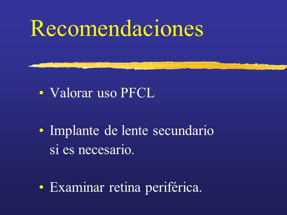 Recomendaciones Valorar uso PFCL Implante de lente secundario si es necesario. Examinar retina periférica.