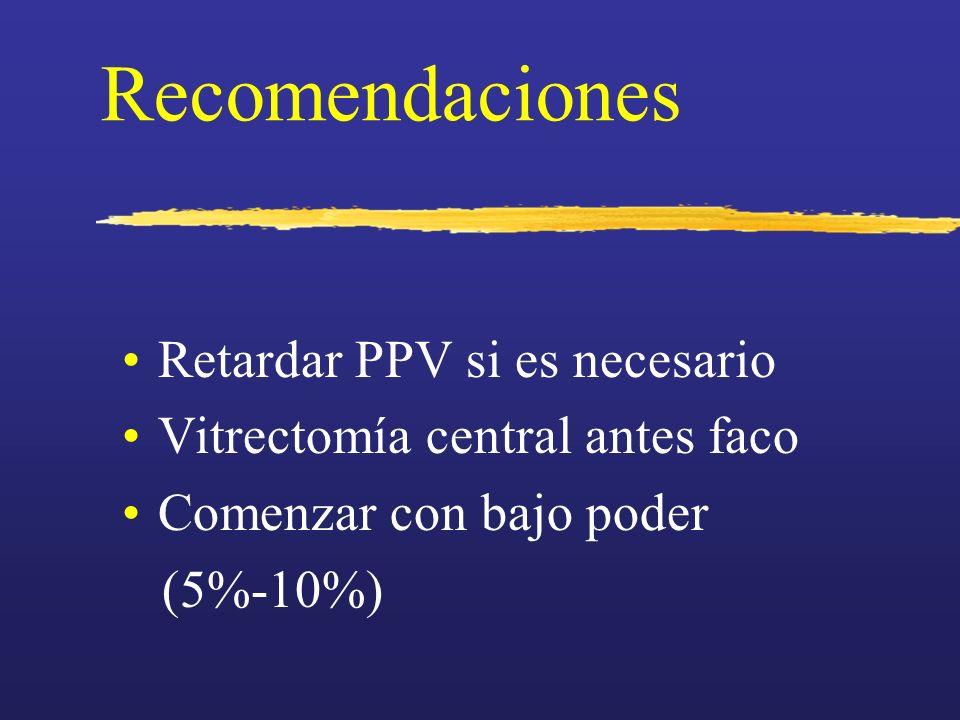 Recomendaciones Retardar PPV si es necesario Vitrectomía central antes faco Comenzar con bajo poder (5%-10%)